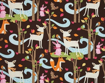 Woodland Scenic Animals on Brown from Timeless Treasure's Fawn Collection