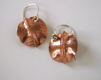 Fold Formed Copper Earrings - Small Round Copper Dangles