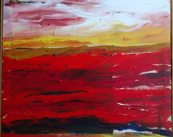 """Rare Jack White Abstract Imressionist Acrylic Painting Titled Heat Waves 18-3/4"""" x 18-3/4"""""""