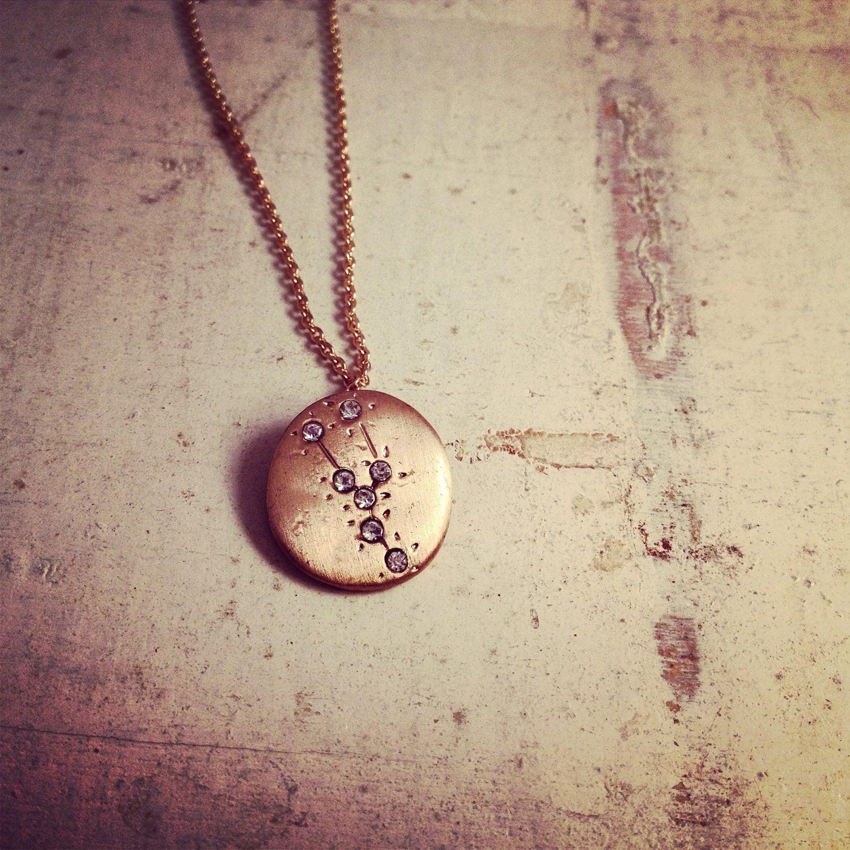 Hand made taurus zodiac sign constellation necklace gold zoom buycottarizona Gallery
