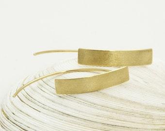 14k gold earrings - minimalist earrings - solid gold post earrings - long rectangle studs
