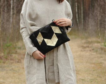Womens leather wristlet bag Small gift Womens black and gold leather bag Geometric leather bag