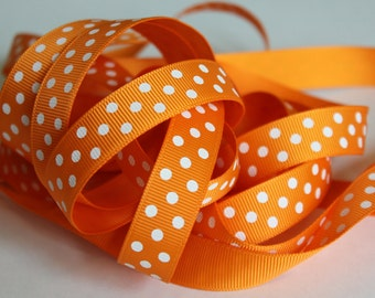 "5/8"" Grosgrain Ribbon with Swiss Dots - Tangerine with White Dots - 5 yards"