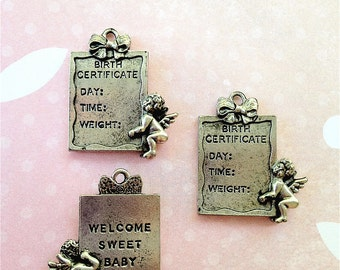 Baby Certificate Charms -3 pieces-(Antique Pewter Silver Finish)--style 727--
