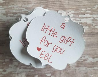 A little gift for you wedding tag, Ornate Frame Thank You Tag, Thank You Hang Tag,  Wedding Tag, Handmade Goods Tag, Bridal Shower (031C)