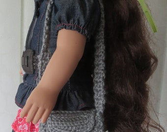 "Crochet Doll Purse with button closure, Fits American Girl Doll or any 18"" Doll, Gift Wrapped"