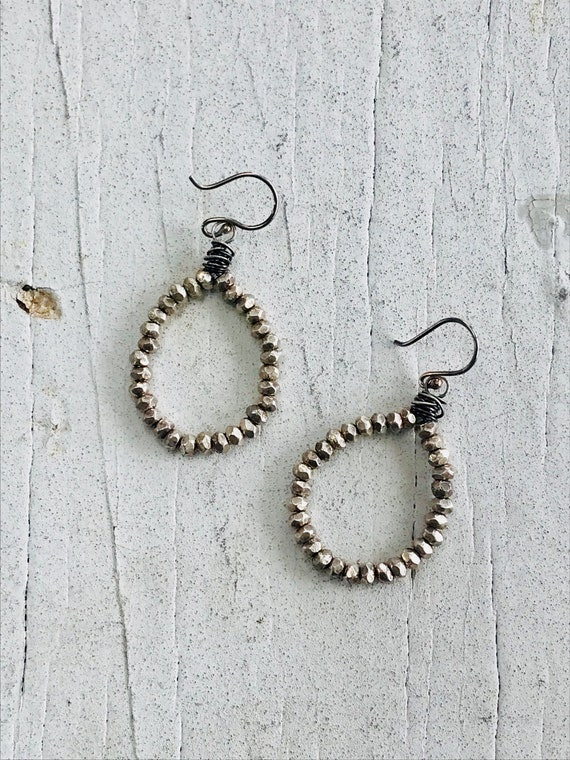 Faceted Fine silver beads with sterling tornado wrap hoops by ladeDAH! jewelry.