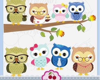 Grandma owl and Grandpa owl,Cute Owls Digital Clipart Elements Set AN055,Owls Digital Clip Art
