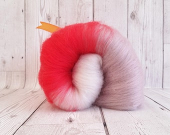 Spinning Fibre 100g, Hand Crafted Carded Batt, Responsibly Sourced, Eco Friendly, Reclaimed Fibres, Vibrant Orange, Grey Mauve