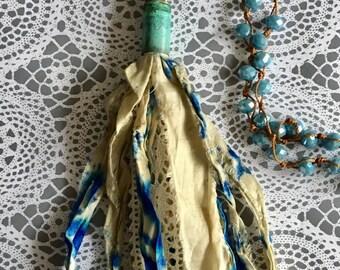 Tassel Blue Sari Silk Necklace Jewelry Bullet Casing Fair Trade Boho Shabby Chic Necklace OOAK
