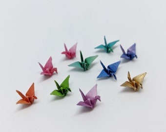 10 Miniature 7 mm Origami Cranes