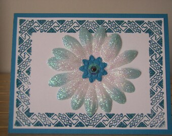 Pretty Turquoise Flower, Any Occasion Card