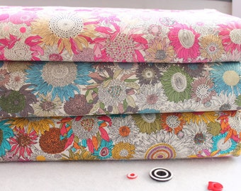 Sunflower Cotton- Fabric Bundle- Fat Quarter Bundle - Cotton Quilting Fabric In Pink Blue Yellow- 4 fat quarters each 50cm x 70cm