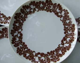 Vintage Rosenthal Cordial Pattern Salad Plates , Mod Brown Floral Plates on Plus Shape by Rosenthal Germany