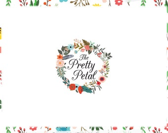Floral Wreath Premade Logo Design - Web and Print Files - Limited Edition! Perfect For Photographer, Florist, Boutique, Handmade Shop + more