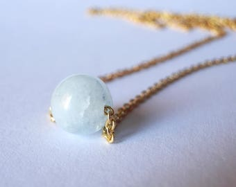 Simple Aquamarine Gemstone Choker. Gold Necklace. Gold Sterling Silver Chain. Simple Choker. Minimalist Jewelry. Natural Aquamarine A+ Bead