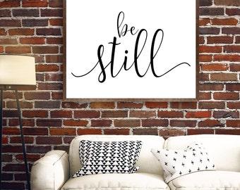 Be Still Wall Art, Be Still Printable, Be Still Print, Black and White Cursive Design, Scripture, Gray Frames Digital Print & Home Wall Art