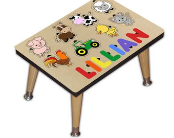 Farm Animals Name Puzzle Stool Personalized with Your Childs Name Great 3rd Birthday Gift, Christmas Present, Personalized 532676237