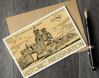 Mission San Xavier del Bac, US history art cards, Tucson Arizona cards, historic preservation cards, US postage stamp, vintage US post cards