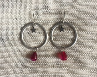 Unique Fuchsia Earrings with starlet