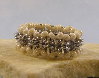 Learn Chain Maille Back to Work Ring Kit - Silver & Pearl (Advanced Beginner)