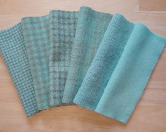 Aqua - Light Turquoise  Hand Dyed Felted Wool Fabric Perfect for Quilting, Applique, Rug Hooking and Sewing by Quilting Acres
