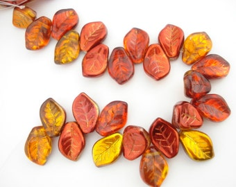 Fall Leaves Czech Glass Leaf Beads 9 X 14 mm, Czech Leaves, Czech Leaf Beads, Orange Red Topaz Copper Metallic Top Drill Leaves