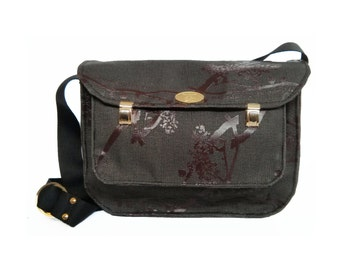 SALE Black Cordura Messenger Cross Body Bag with Front Pocket. Miss Betty Satchel