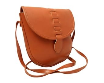 Vintage, Tan leather Satchel, Messenger, Cross Body Bag, Saddle Bag