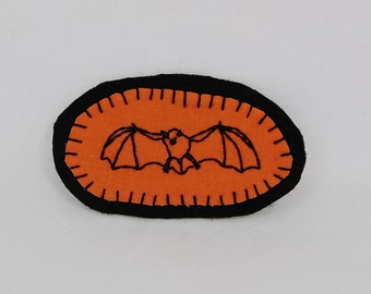 Black on Orange Bat Embroidered Patch