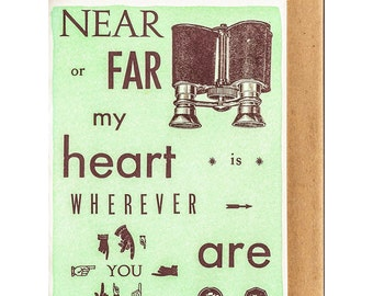 My heart is wherever you are Letterpress Card
