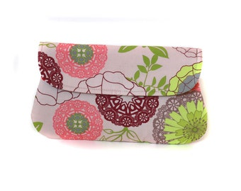 Cotton clutch. Pink, purple and green doily printed clutch purse, bridesmaid gift, bridesmaid clutches