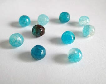 10 pearls spider agate dragon vein has facet Blue 6mm