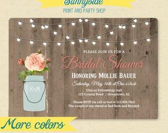 Rustic Lace Mason Jar Bridal Shower Invitation Sunflower