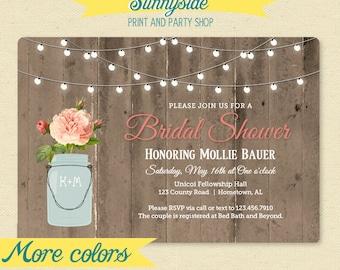 Rustic Mason Jar Shower Invitation - Couple / Bridal / Wedding Shower Invitation - Barnwood & Lights Shower Invite