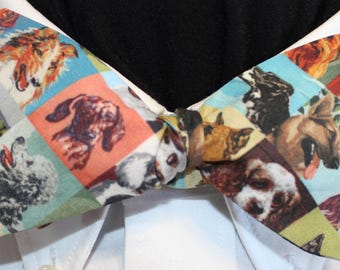 PAINT by NUMBERS DOGS--Handmade bow tie in novelty cotton, dogs on various colors, for well dressed men & women;