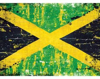 "Jamaican Flag - 18"" x 12"" Art Print Poster Jamaica rasta flag"