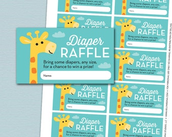 Giraffe Baby Shower Diaper Raffle Card Ticket - Aqua and Yellow - Giraffe - Instant Download