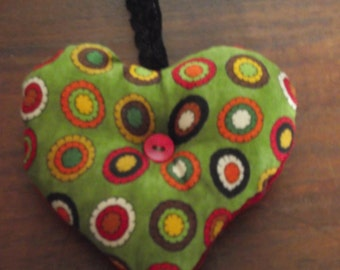 autumnal colours, country style heart door hanger or christmas decoration, 10cm x 10cm red needle cord and green circles pattern