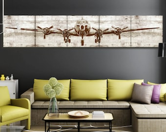 """Giant size Superfortress  B29 giclee printed  Airplane canvas painting distress wood style   5  in 1  24*120""""/bedroom idea unframed"""