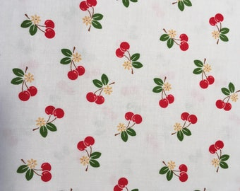 Sew Cherry 2 - Cherry on white fabric by Lori Holt from Riley Blake Designs