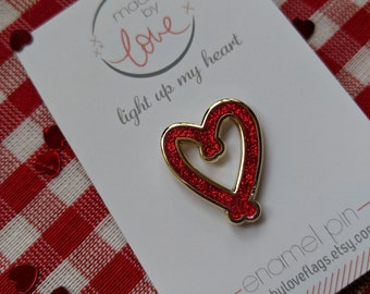 Red glitter heart enamel pin / pin game / brooch - light up my life - made by love