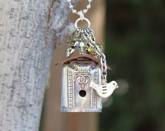 Birdhouse Necklace Pendant Silver Plated Vintage Knife Handle  Repurposed Flatware
