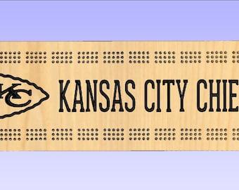 Rustic Cribbage Board - Kansas City Chiefs - Football Furniture Log Cabin Lodge Deer Camp Man Cave