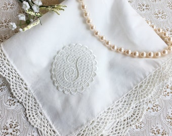 Custom Lattice Monogram Wedding Handkerchief