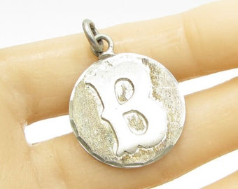 "Mexico 925 sterling silver - vintage cast iron font letter ""b""pendant -  p1044"