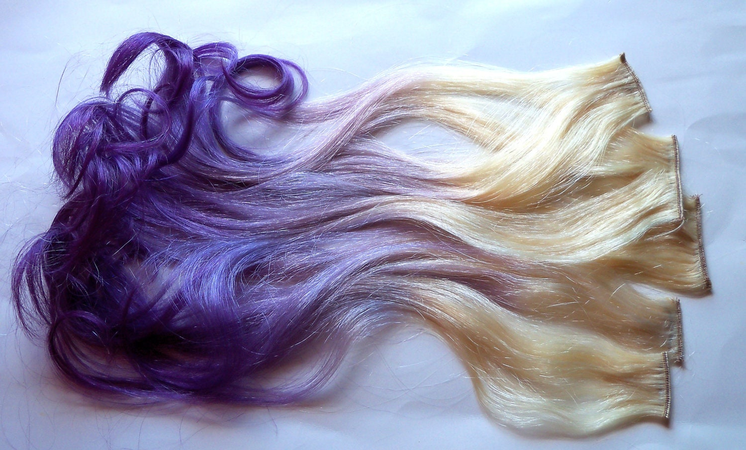 Purple And Blonde Ombre Fade Dip Dye Clip In Human Hair