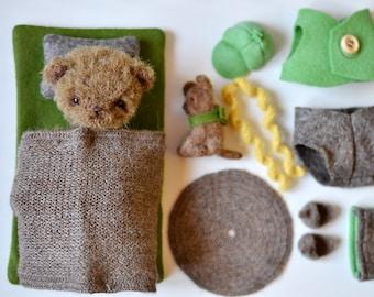 Miniature bear, artist teddy bear, teddy bear play set