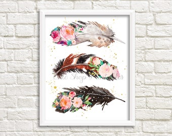 Boho Feathers, Shabby Chic print, Feather Print, Boho Print,Instant Download, 8x10 Print, wall decor, office decor, bedroom decor