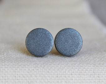 READY TO SHIP / Graphite Earrings / Hypoallergenic Earrings / Titanium Studs / Gray Earrings / Mens Earrings / Gunmetal Earrings